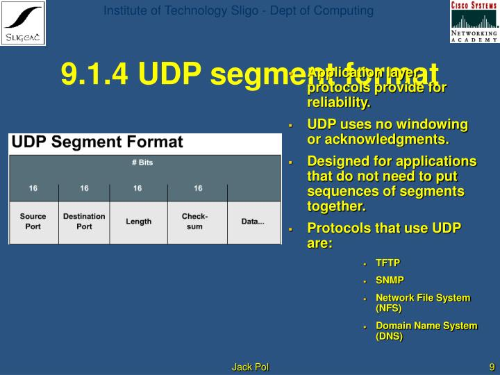 9.1.4 UDP segment format