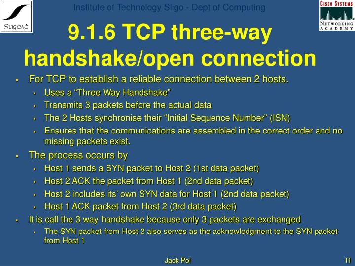 9.1.6 TCP three-way handshake/open connection