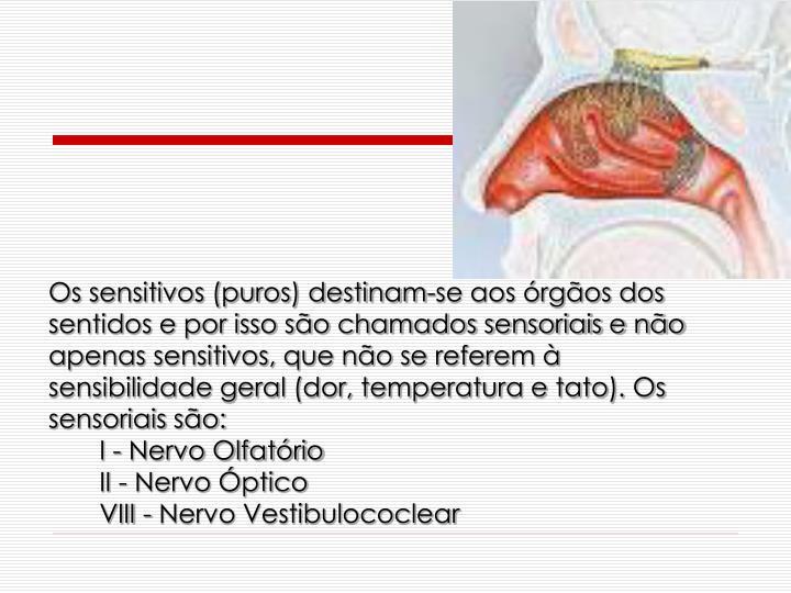 Os sensitivos (puros) destinam-se aos rgos dos sentidos e por isso so chamados sensoriais e no apenas sensitivos, que no se referem  sensibilidade geral (dor, temperatura e tato). Os sensoriais so: