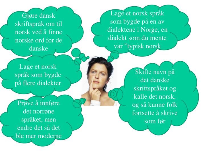 "Lage et norsk språk som bygde på en av dialektene i Norge, en dialekt som du mente var ""typisk norsk"