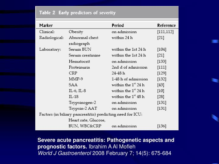 Severe acute pancreatitis: Pathogenetic aspects and