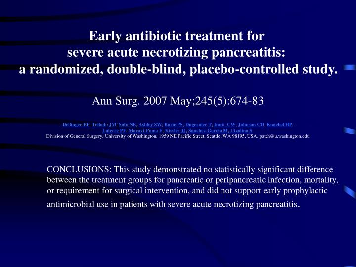 Early antibiotic treatment for