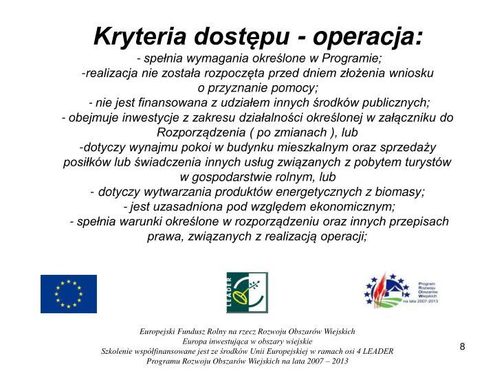 Kryteria dostępu - operacja:
