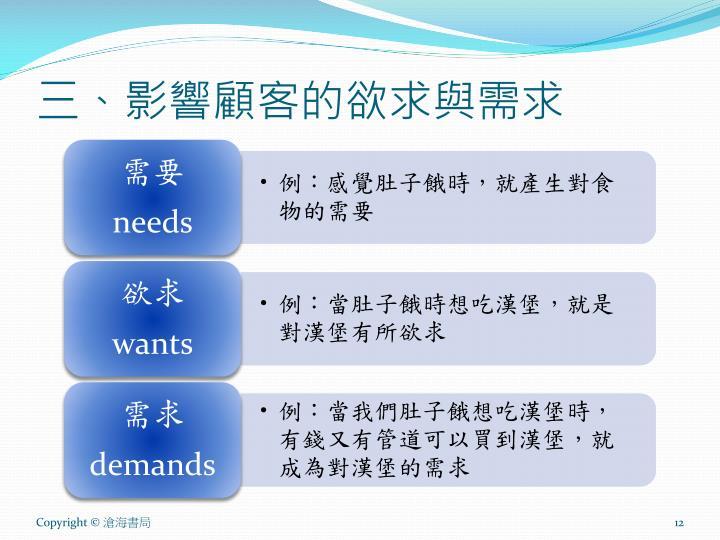 三、影響顧客的欲求與需求