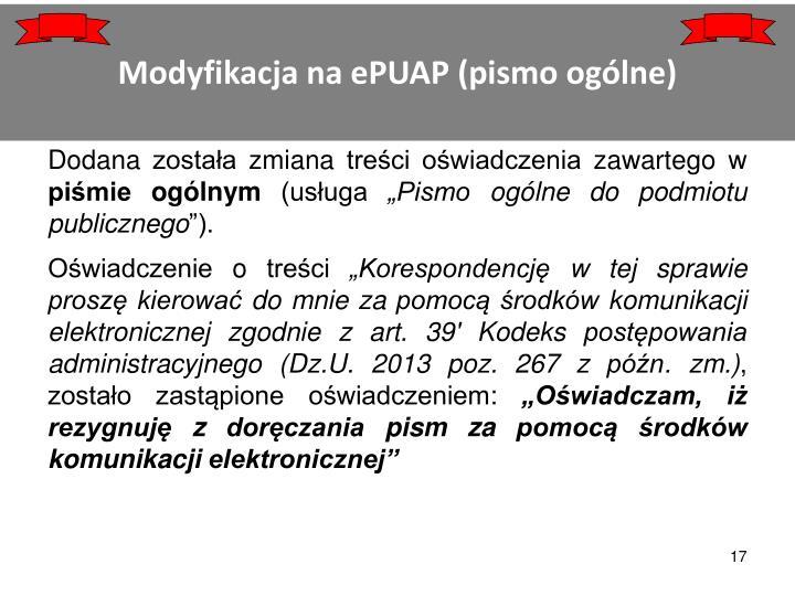 Modyfikacja na ePUAP (pismo ogólne)