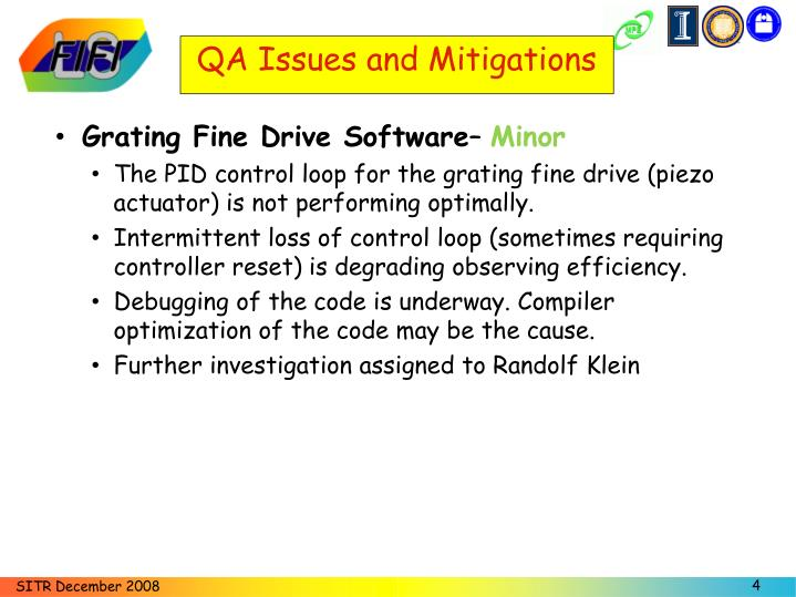 QA Issues and Mitigations