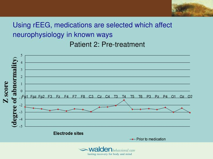 Using rEEG, medications are selected which affect neurophysiology in known ways