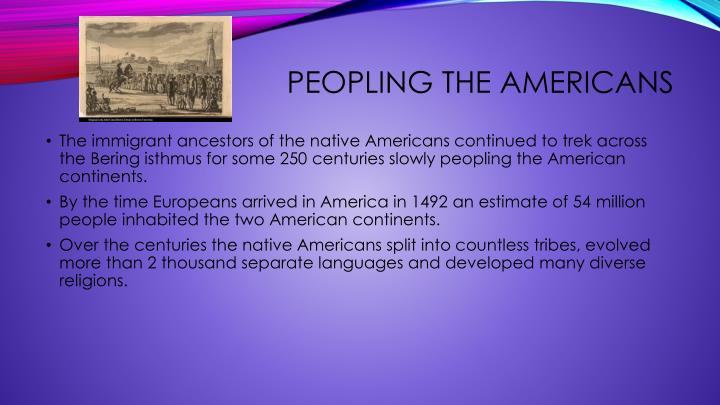 Peopling the Americans