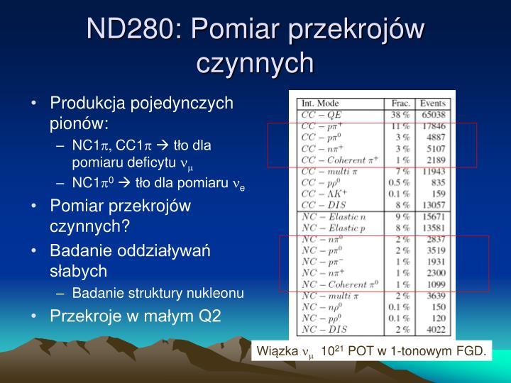 ND280: Pomiar przekrojów czynnych
