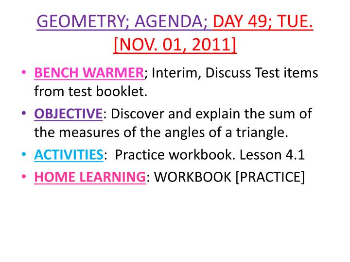 Geometry agenda day 49 tue nov 01 2011