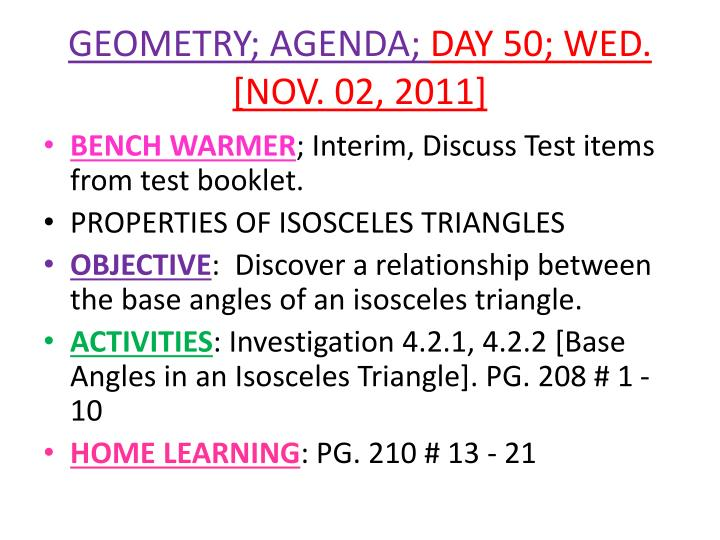 Geometry agenda day 50 wed nov 02 2011