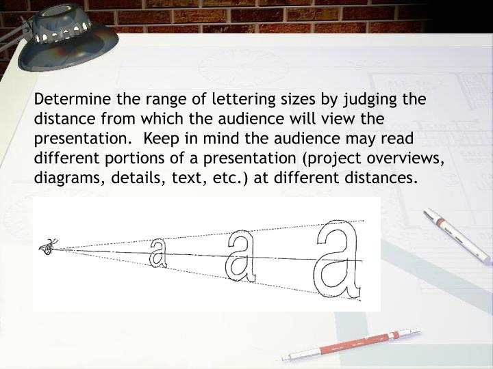 Determine the range of lettering sizes by judging the distance from which the audience will view the presentation.  Keep in mind the audience may read different portions of a presentation (project overviews, diagrams, details, text, etc.) at different distances.