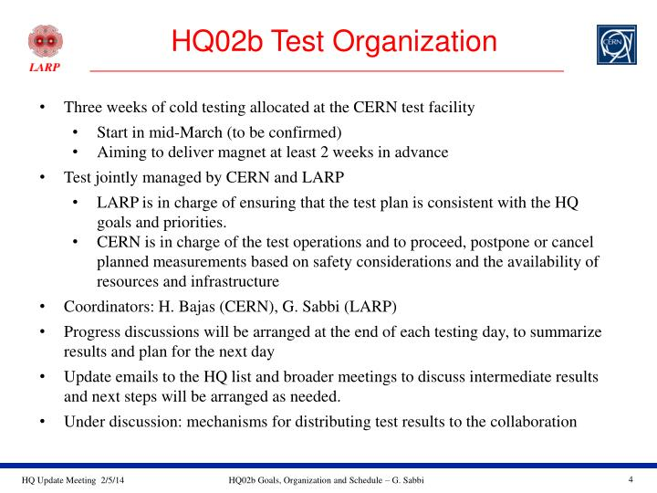 HQ02b Test Organization