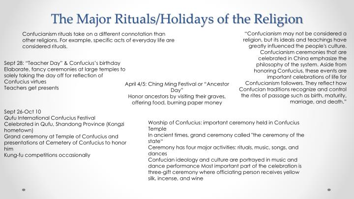 The Major Rituals/Holidays of the Religion