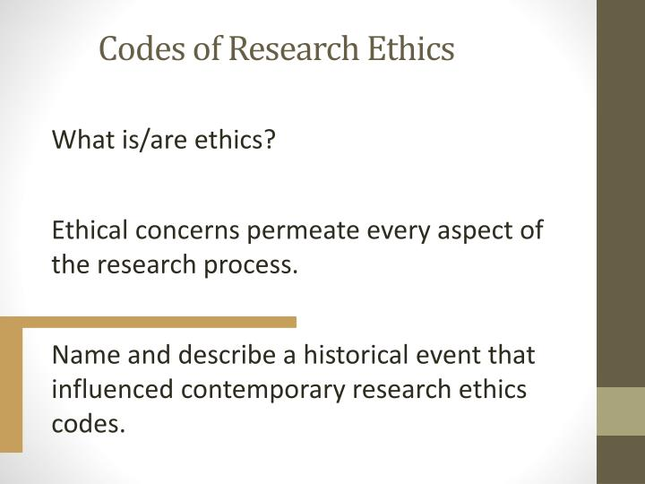 Codes of research ethics