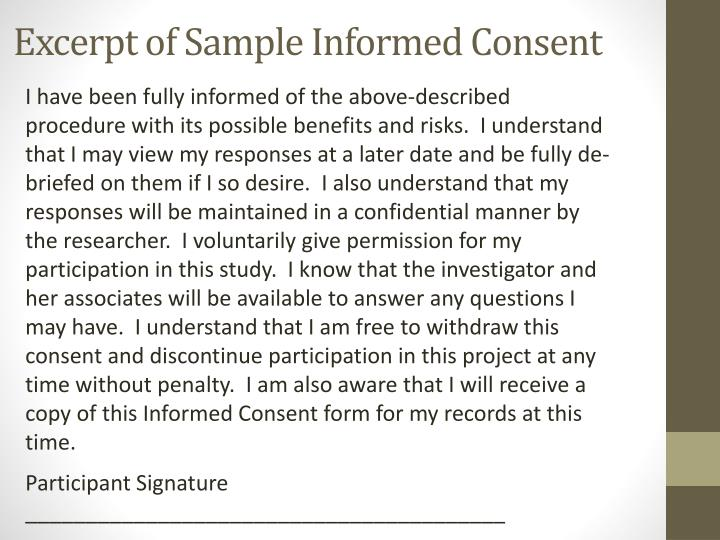 Excerpt of Sample Informed Consent