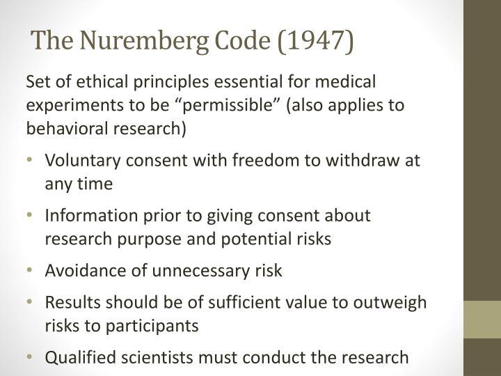 The Nuremberg Code (1947)