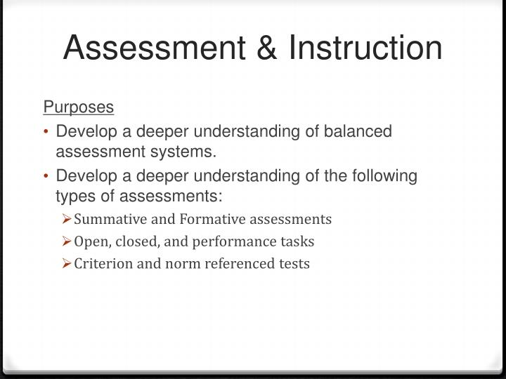 Assessment & Instruction
