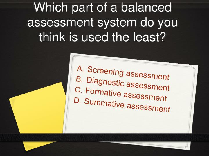 Which part of a balanced assessment system do you think is used the least?