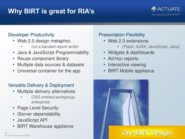 Why BIRT is great for RIA's