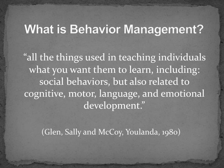 What is behavior management