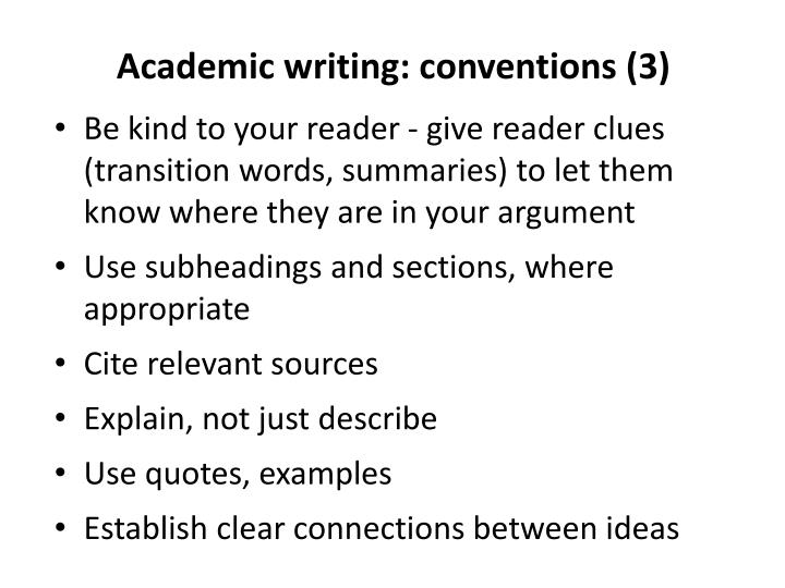 Academic writing: conventions (3)