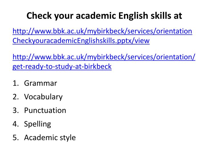 Check your academic English skills at
