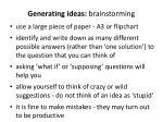 generating ideas brainstorming