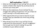 self evaluation s w o t