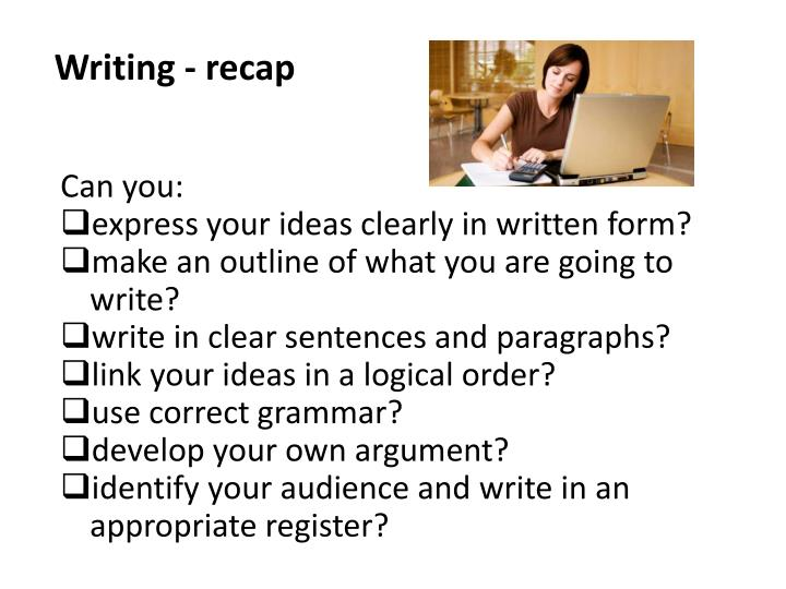 Writing - recap