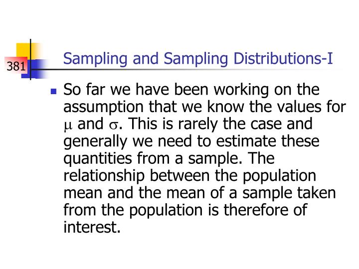 Sampling and Sampling Distributions-I