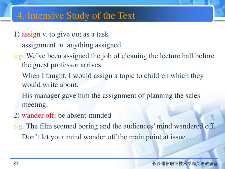 4. Intensive Study of the Text