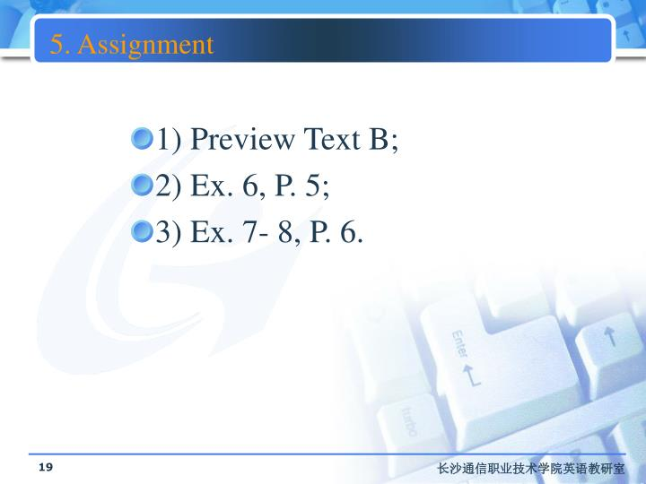 5. Assignment