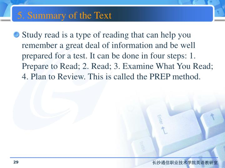 5. Summary of the Text