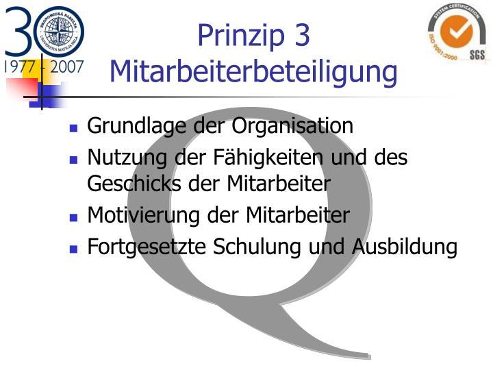 Prinzip 3 Mitarbeiterbeteiligung