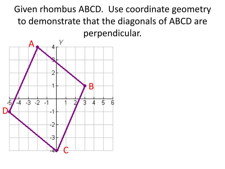 Given rhombus ABCD.  Use coordinate geometry to demonstrate that the diagonals of ABCD are perpendicular.