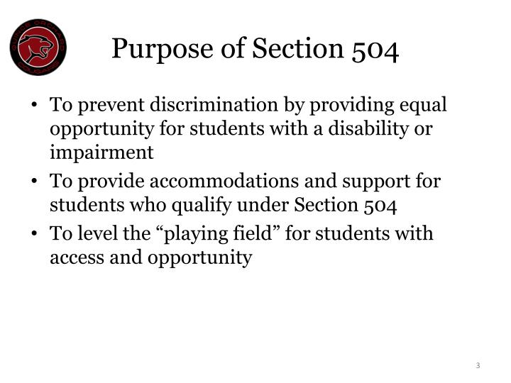 Purpose of Section 504