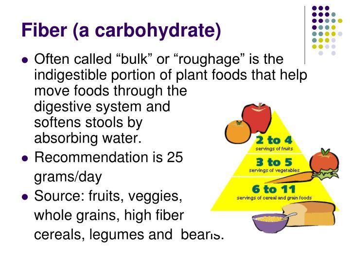 Fiber (a carbohydrate)