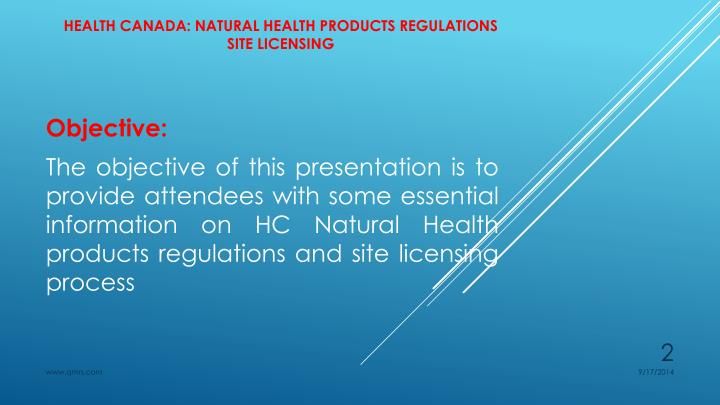 Health canada natural health products regulations site licensing