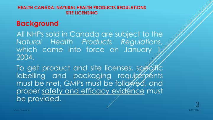 Health canada natural health products regulations site licensing1