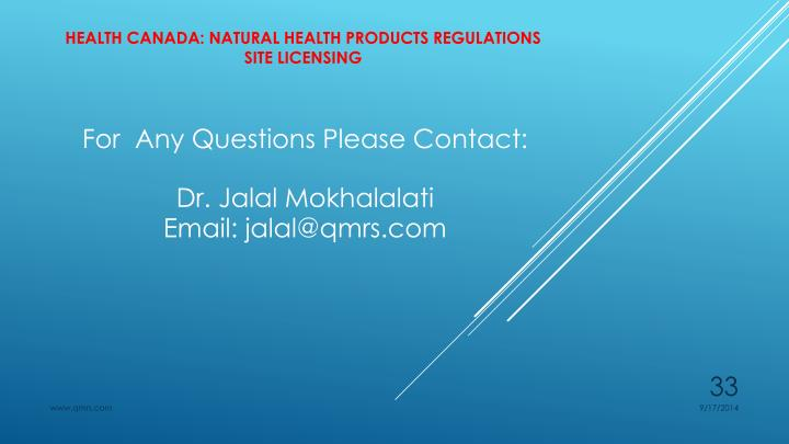 HEALTH CANADA: Natural Health PRODUCTS REGULATIONS