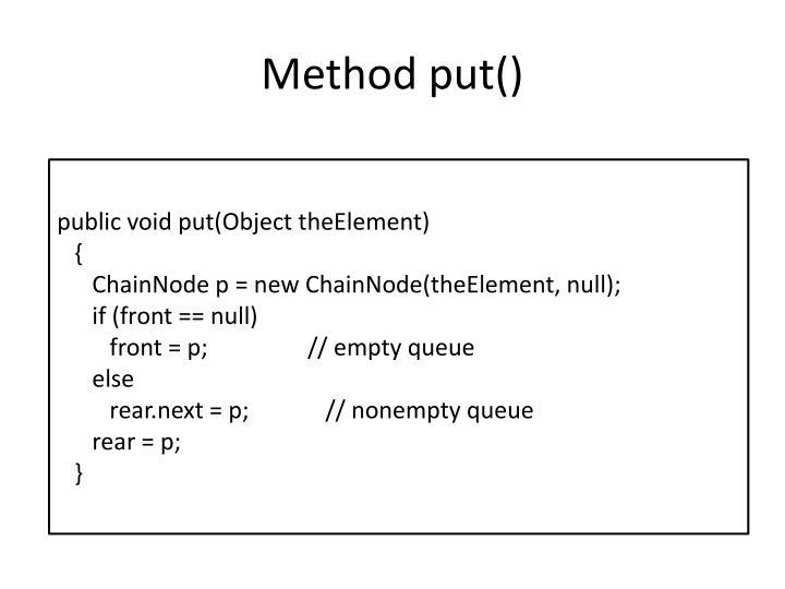 Method put()