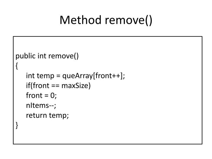 Method remove()