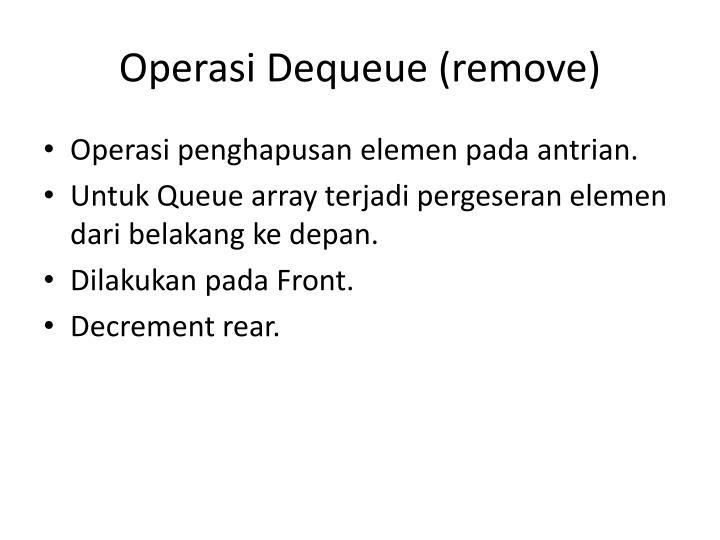 Operasi Dequeue (remove)