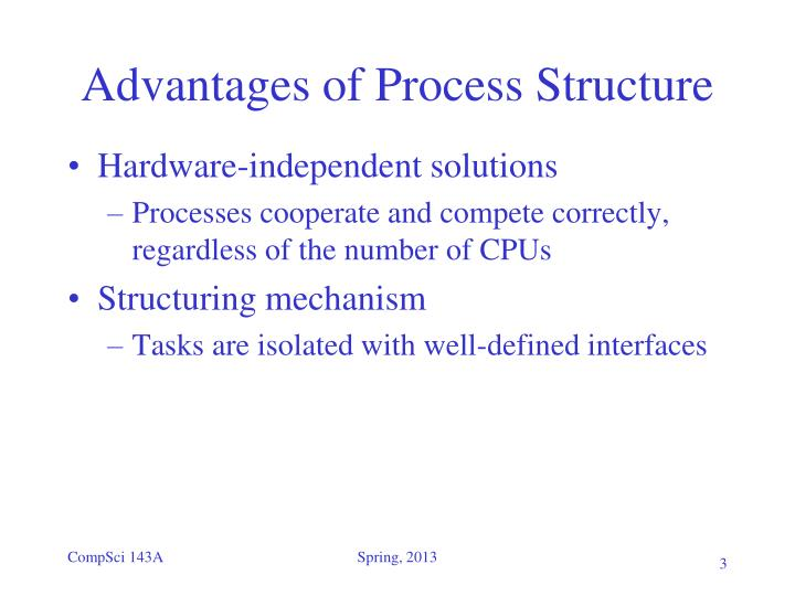 Advantages of process structure