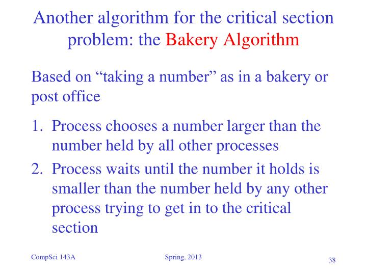 Another algorithm for the critical section problem: the
