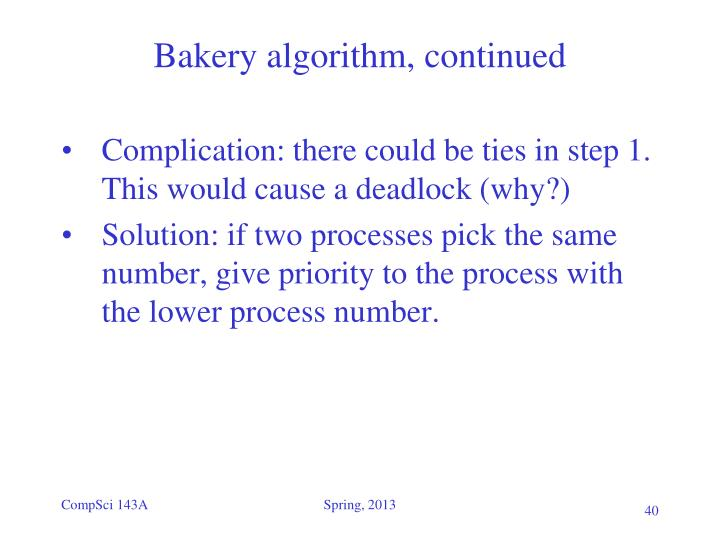 Bakery algorithm, continued
