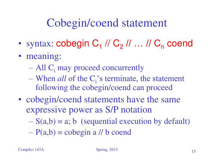 Cobegin/coend statement