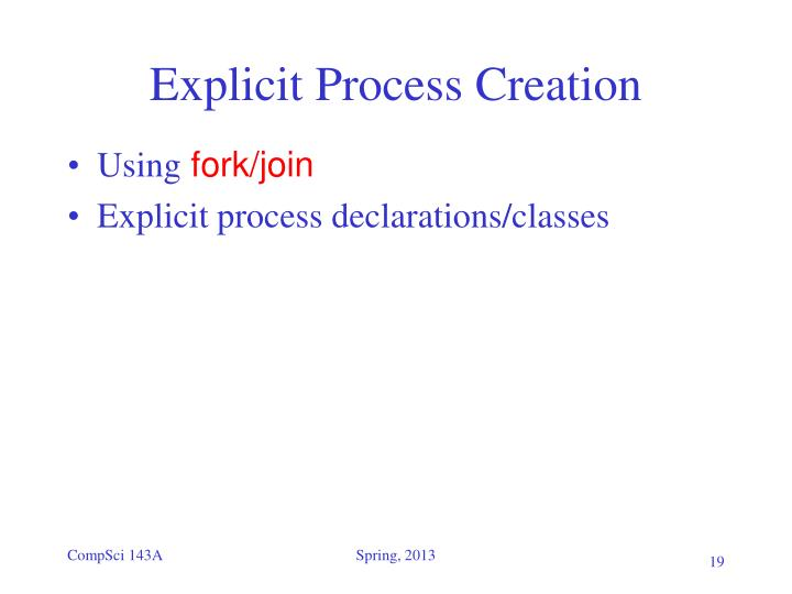 Explicit Process Creation