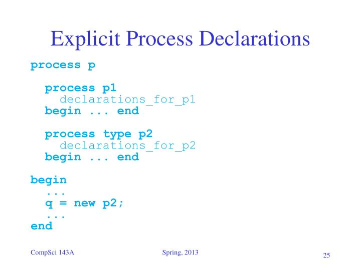 Explicit Process Declarations